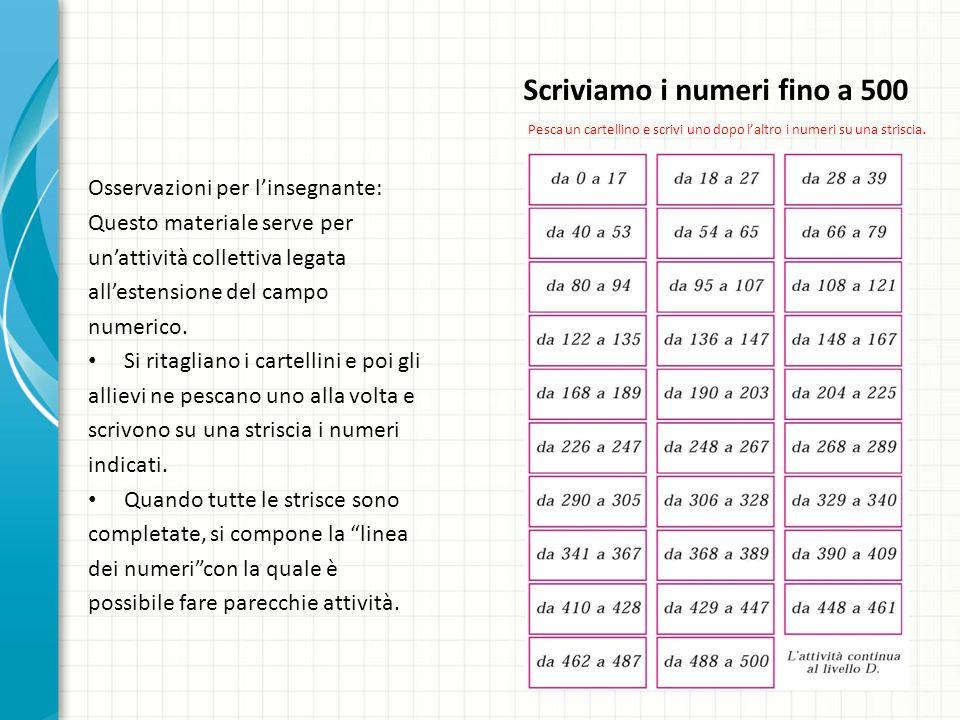 Scriviamo i numeri fino a 500 Osservazioni per linsegnante: Questo materiale serve per unattività collettiva legata allestensione del campo numerico.