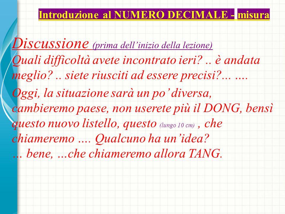 Introduzione al NUMERO DECIMALE - misura Discussione (prima dellinizio della lezione) Quali difficoltà avete incontrato ieri ..