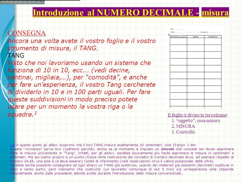Introduzione al NUMERO DECIMALE - misura CONSEGNA Ancora una volta avete il vostro foglio e il vostro strumento di misura, il TANG.