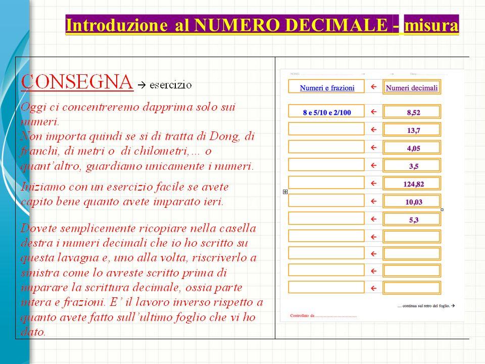 Introduzione al NUMERO DECIMALE - misura