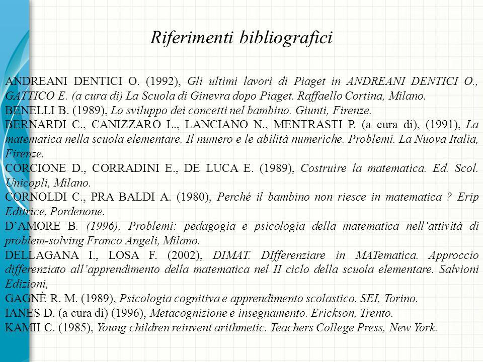 Riferimenti bibliografici ANDREANI DENTICI O.