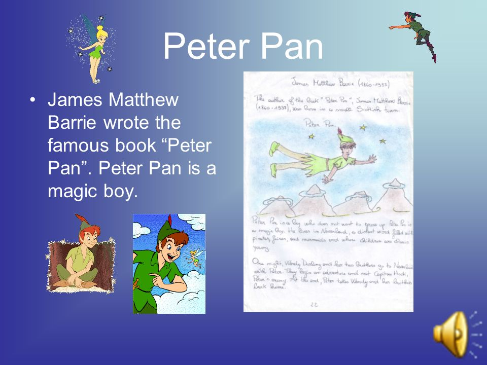 Peter Pan James Matthew Barrie wrote the famous book Peter Pan. Peter Pan is a magic boy.