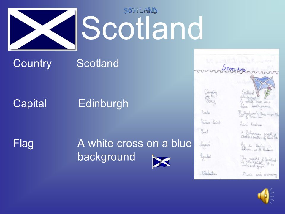 Scotland Country Scotland Capital Edinburgh Flag A white cross on a blue background