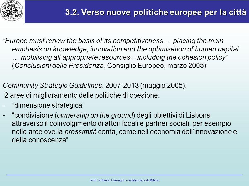 Prof. Roberto Camagni – Politecnico di Milano 3.2. Verso nuove politiche europee per la città Europe must renew the basis of its competitiveness … pla