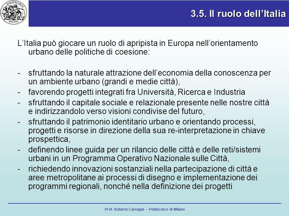 Prof. Roberto Camagni – Politecnico di Milano 3.5. Il ruolo dellItalia LItalia può giocare un ruolo di apripista in Europa nellorientamento urbano del