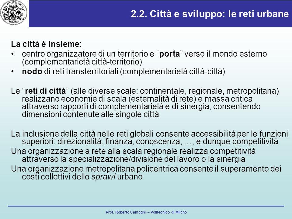 Prof. Roberto Camagni – Politecnico di Milano 2.2. Città e sviluppo: le reti urbane La città è insieme: centro organizzatore di un territorio e porta