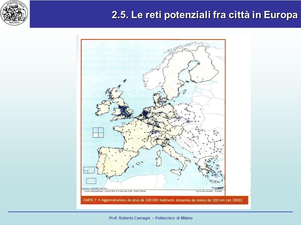 Prof. Roberto Camagni – Politecnico di Milano 2.5. Le reti potenziali fra città in Europa