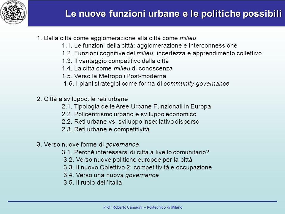 Prof. Roberto Camagni – Politecnico di Milano Le nuove funzioni urbane e le politiche possibili 1. Dalla città come agglomerazione alla città come mil