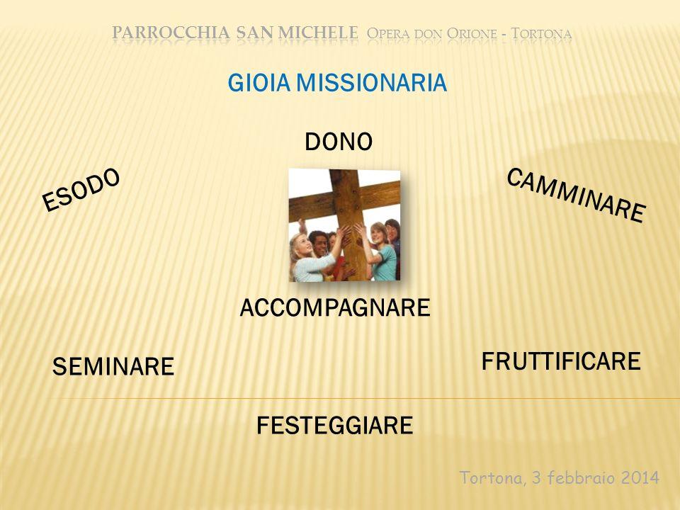 Tortona, 3 febbraio 2014 GIOIA MISSIONARIA ESODO DONO CAMMINARE SEMINARE ACCOMPAGNARE FRUTTIFICARE FESTEGGIARE