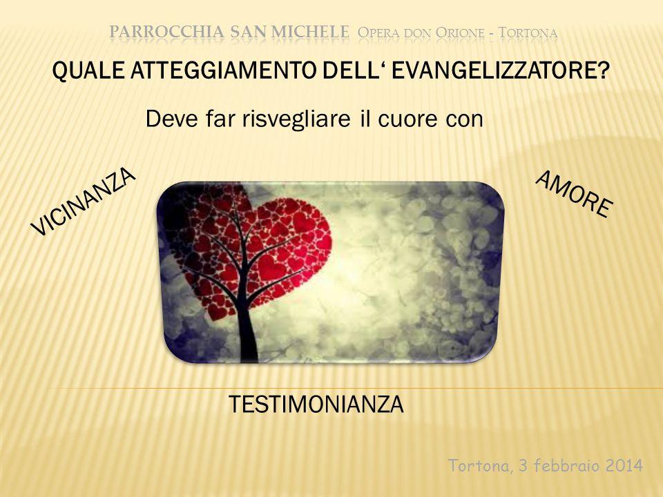 Tortona, 3 febbraio 2014 TESTIMONIANZA QUALE ATTEGGIAMENTO DELL EVANGELIZZATORE? Deve far risvegliare il cuore con VICINANZA AMORE