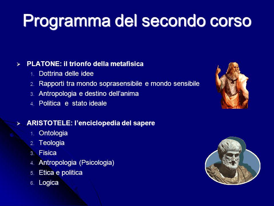 Programma del secondo corso PLATONE: il trionfo della metafisica PLATONE: il trionfo della metafisica 1.