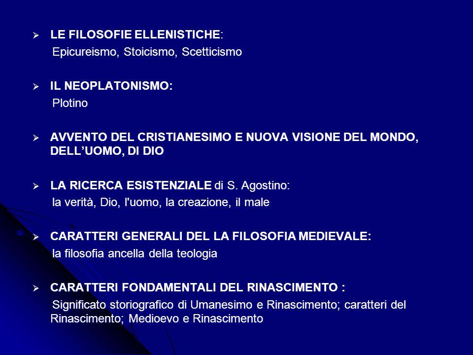 LE FILOSOFIE ELLENISTICHE: LE FILOSOFIE ELLENISTICHE: Epicureismo, Stoicismo, Scetticismo Epicureismo, Stoicismo, Scetticismo IL NEOPLATONISMO: IL NEOPLATONISMO: Plotino Plotino AVVENTO DEL CRISTIANESIMO E NUOVA VISIONE DEL MONDO, DELLUOMO, DI DIO AVVENTO DEL CRISTIANESIMO E NUOVA VISIONE DEL MONDO, DELLUOMO, DI DIO LA RICERCA ESISTENZIALE di S.