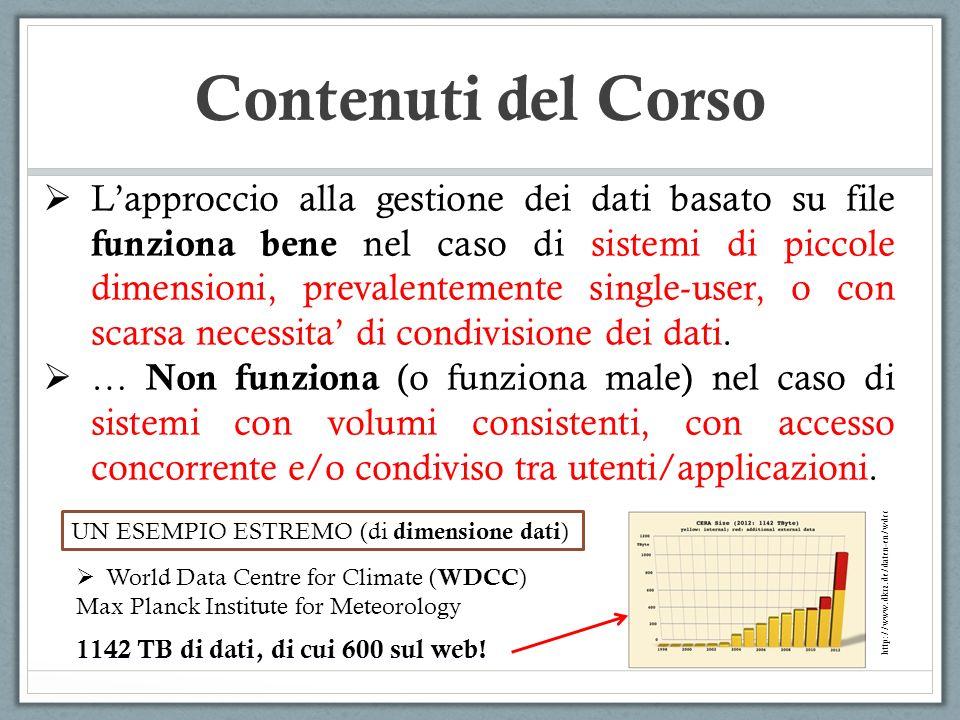 Contenuti del Corso Lapproccio alla gestione dei dati basato su file funziona bene nel caso di sistemi di piccole dimensioni, prevalentemente single-u