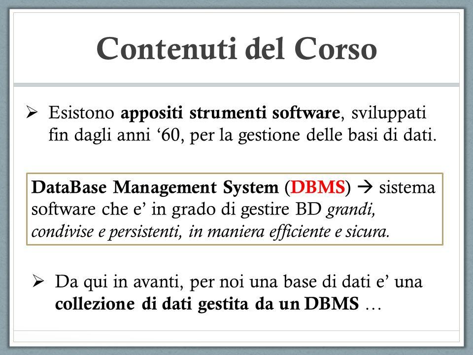 Contenuti del Corso Esistono appositi strumenti software, sviluppati fin dagli anni 60, per la gestione delle basi di dati. DataBase Management System