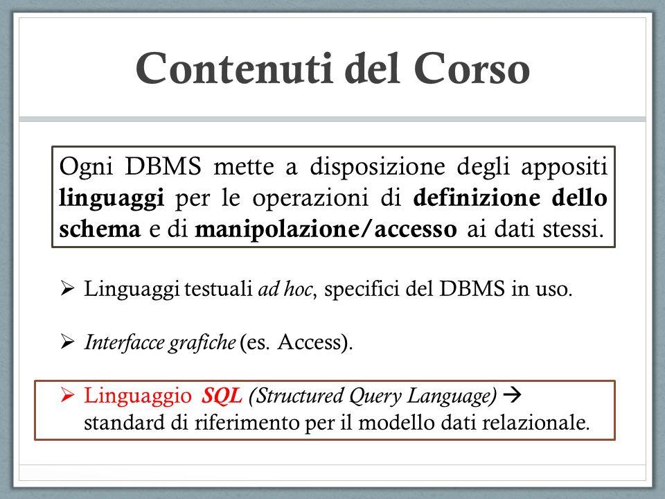 Ogni DBMS mette a disposizione degli appositi linguaggi per le operazioni di definizione dello schema e di manipolazione/accesso ai dati stessi. Lingu