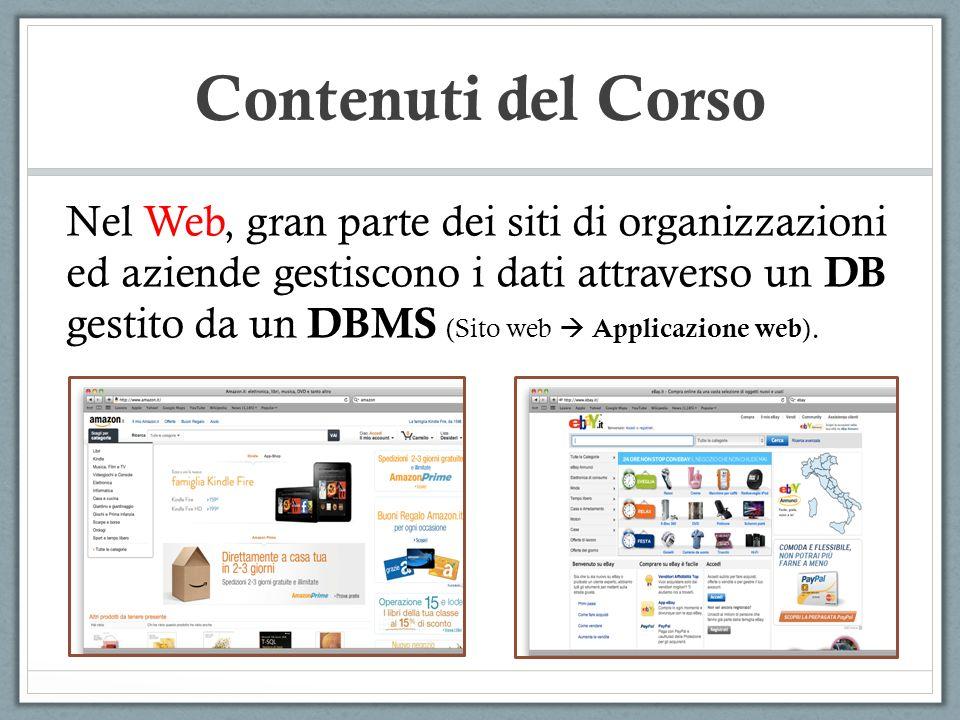 Contenuti del Corso Nel Web, gran parte dei siti di organizzazioni ed aziende gestiscono i dati attraverso un DB gestito da un DBMS (Sito web Applicaz