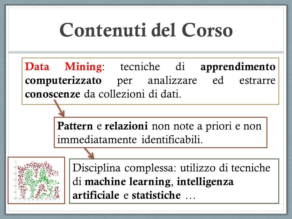 Contenuti del Corso Data Mining : tecniche di apprendimento computerizzato per analizzare ed estrarre conoscenze da collezioni di dati. Pattern e rela