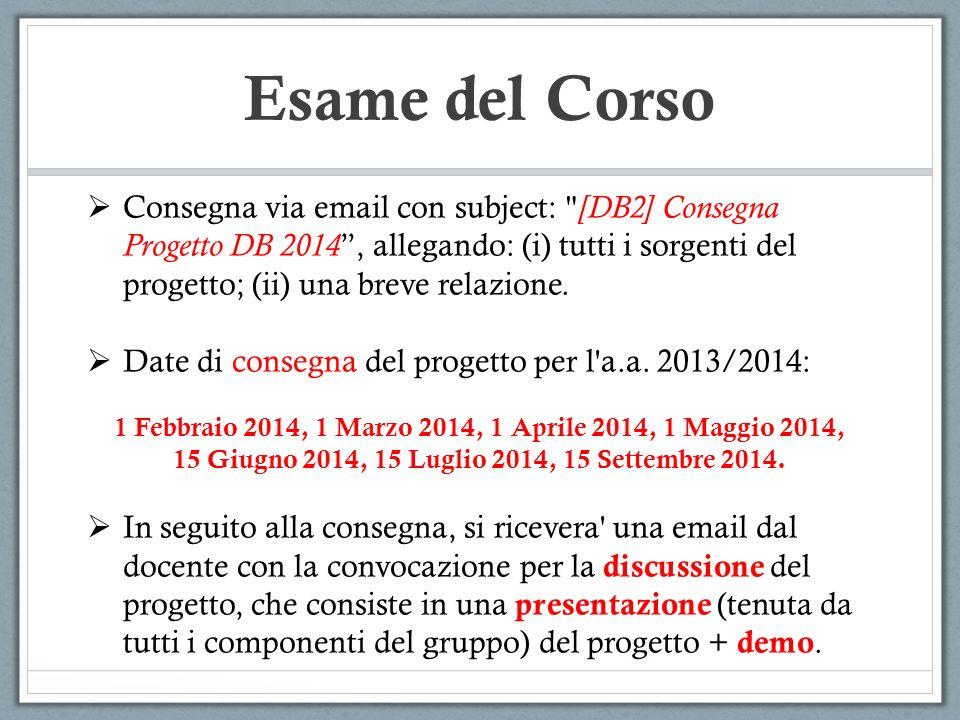 Esame del Corso Consegna via email con subject: