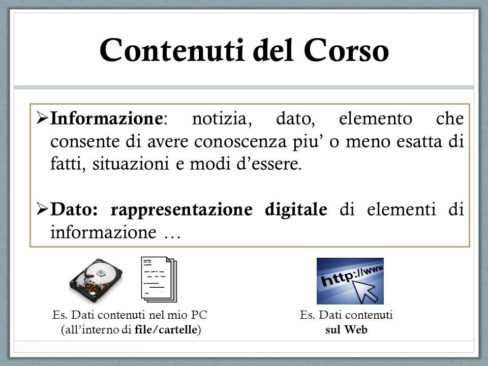 Contenuti del Corso Informazione : notizia, dato, elemento che consente di avere conoscenza piu o meno esatta di fatti, situazioni e modi dessere. Dat