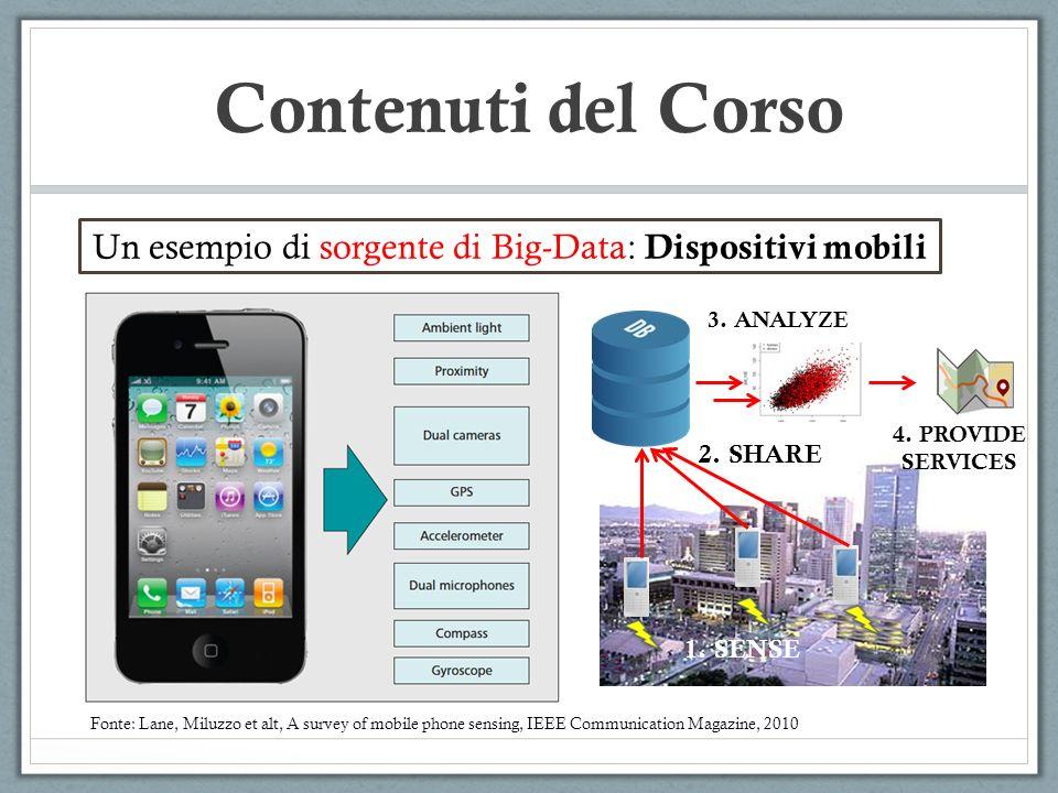 Contenuti del Corso Un esempio di sorgente di Big-Data: Dispositivi mobili Fonte: Lane, Miluzzo et alt, A survey of mobile phone sensing, IEEE Communi
