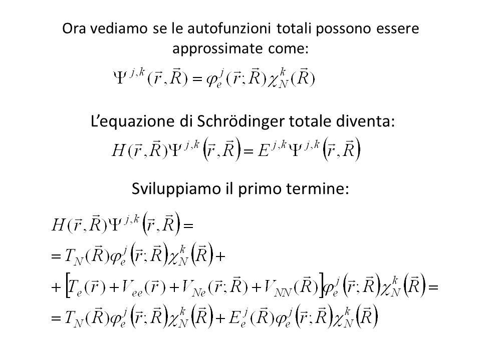 Ora vediamo se le autofunzioni totali possono essere approssimate come: Sviluppiamo il primo termine: Lequazione di Schrödinger totale diventa: