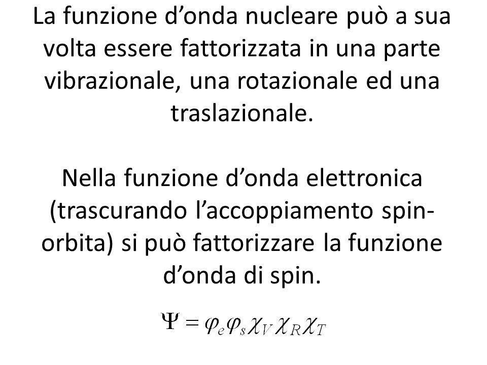 La funzione donda nucleare può a sua volta essere fattorizzata in una parte vibrazionale, una rotazionale ed una traslazionale. Nella funzione donda e