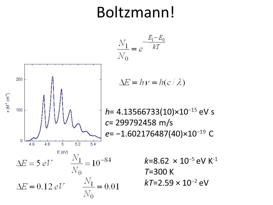 Boltzmann! k=8.62 × 10 5 eV K -1 T=300 K kT=2.59 × 10 2 eV h= 4.13566733(10)×10 15 eV s c= 299792458 m/s e= 1.602176487(40)×10 19 C