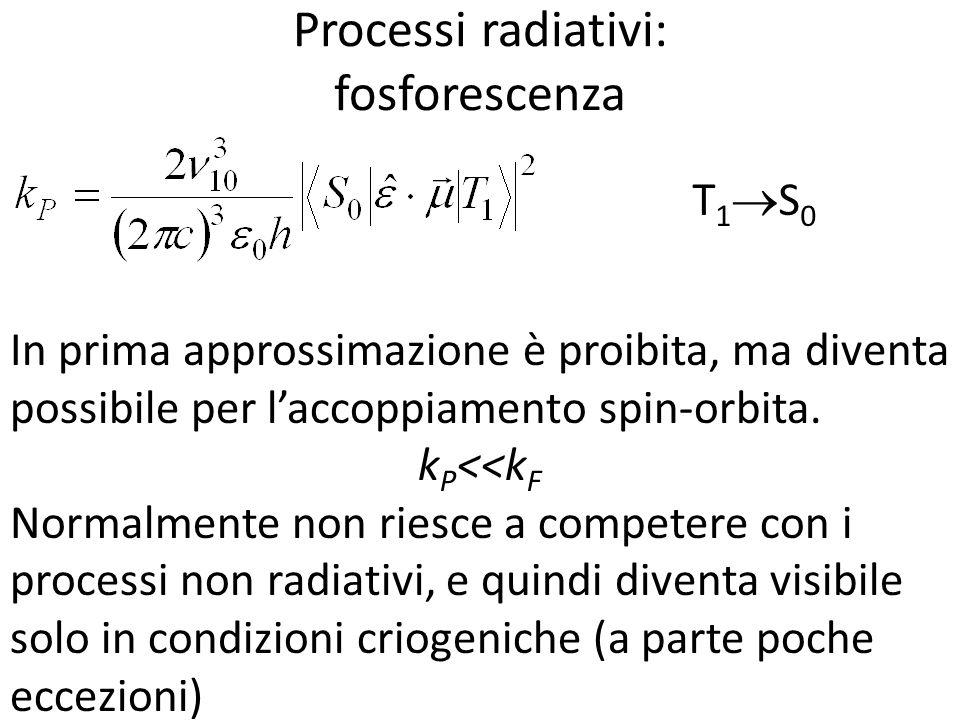 Processi radiativi: fosforescenza In prima approssimazione è proibita, ma diventa possibile per laccoppiamento spin-orbita. k P <<k F Normalmente non