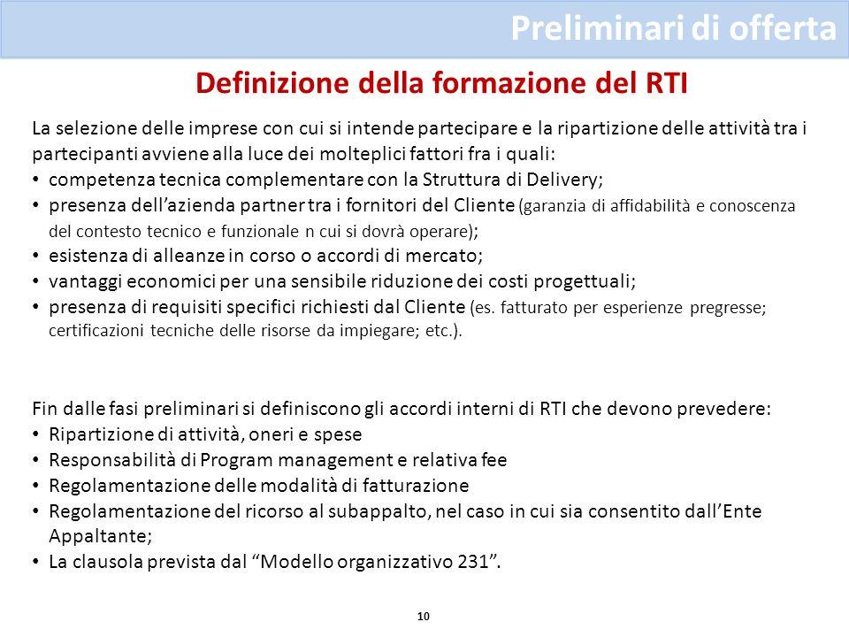 Preliminari di offerta 10 La selezione delle imprese con cui si intende partecipare e la ripartizione delle attività tra i partecipanti avviene alla l