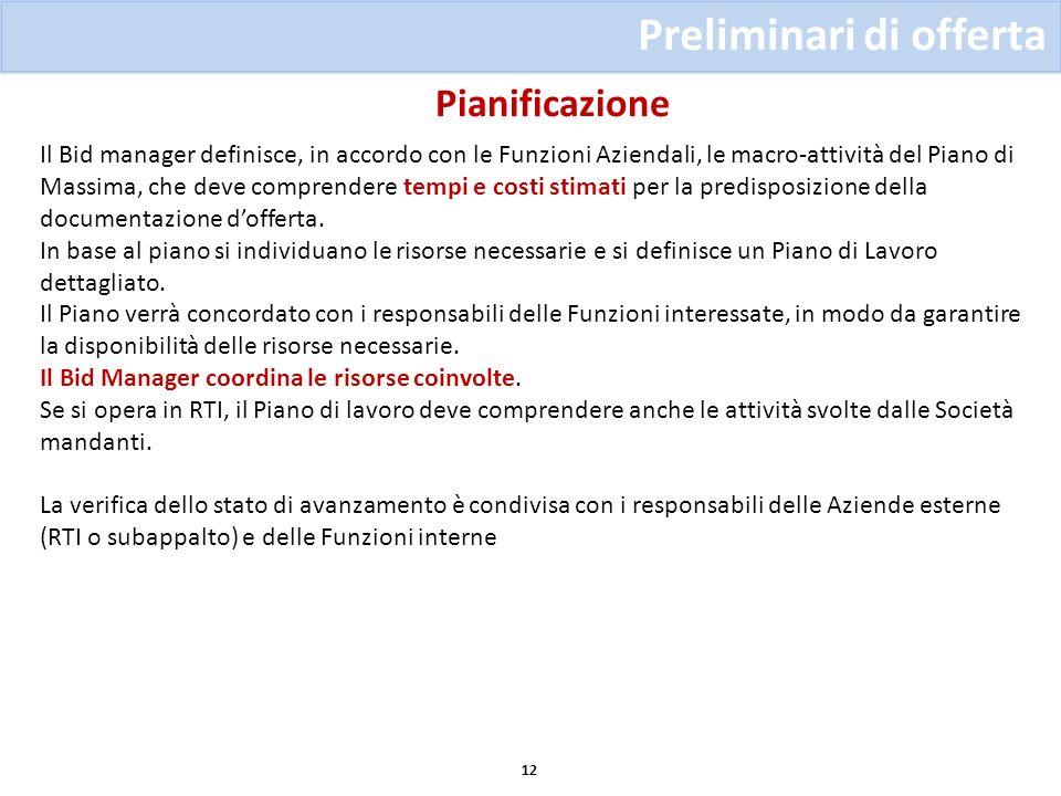 Pianificazione Preliminari di offerta 12 Il Bid manager definisce, in accordo con le Funzioni Aziendali, le macro-attività del Piano di Massima, che d