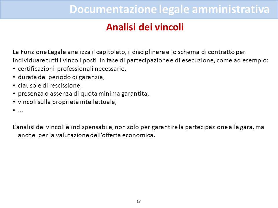 Analisi dei vincoli 17 Documentazione legale amministrativa La Funzione Legale analizza il capitolato, il disciplinare e lo schema di contratto per in