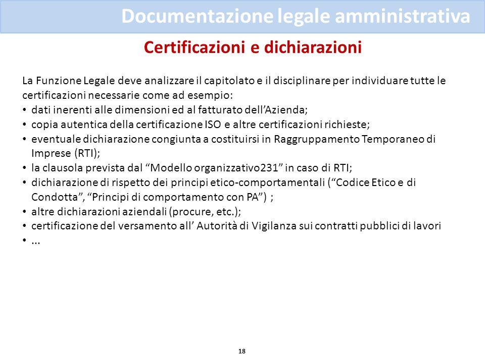 Certificazioni e dichiarazioni 18 Documentazione legale amministrativa La Funzione Legale deve analizzare il capitolato e il disciplinare per individu