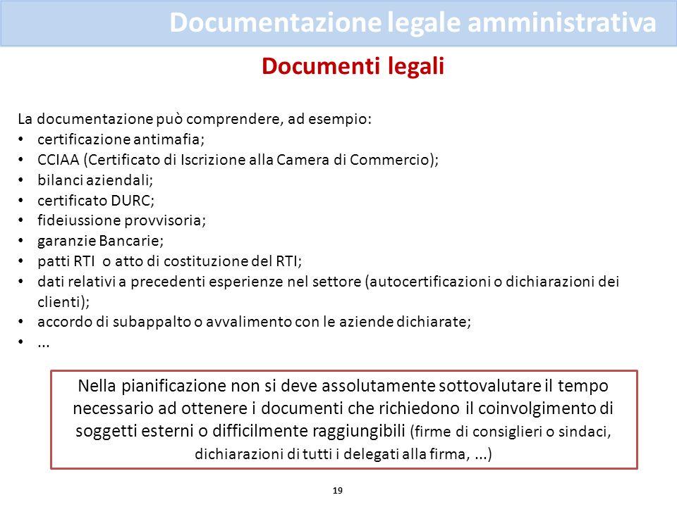 Documenti legali 19 Documentazione legale amministrativa La documentazione può comprendere, ad esempio: certificazione antimafia; CCIAA (Certificato d