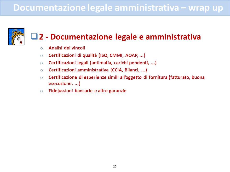 2 - Documentazione legale e amministrativa o Analisi dei vincoli o Certificazioni di qualità (ISO, CMMI, AQAP,...) o Certificazioni legali (antimafia,