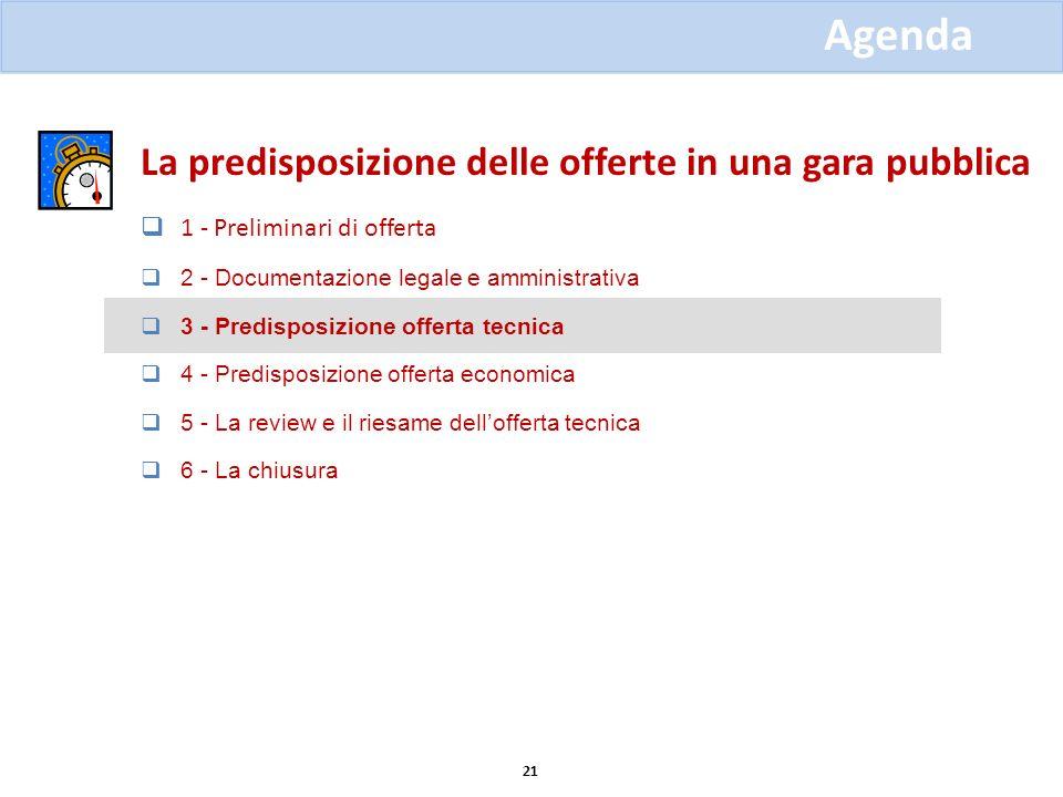 La predisposizione delle offerte in una gara pubblica 1 - Preliminari di offerta 2 - Documentazione legale e amministrativa 3 - Predisposizione offert