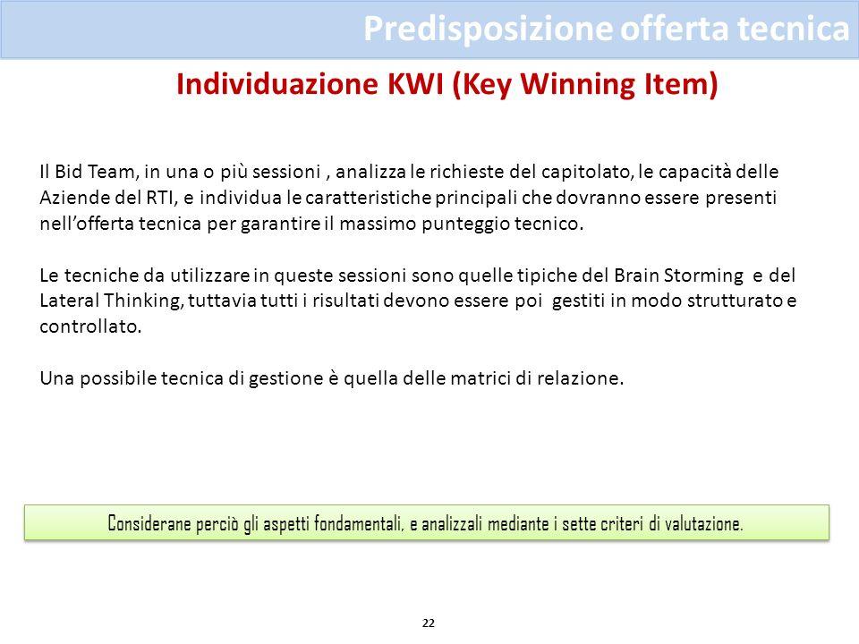 Individuazione KWI (Key Winning Item) 22 Predisposizione offerta tecnica Considerane perciò gli aspetti fondamentali, e analizzali mediante i sette cr