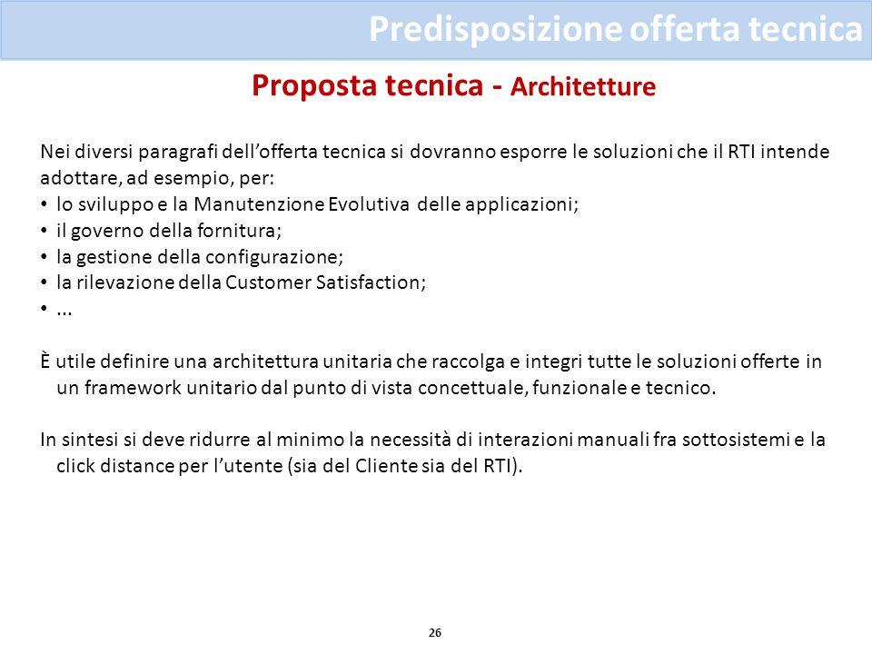 Proposta tecnica - Architetture 26 Predisposizione offerta tecnica Nei diversi paragrafi dellofferta tecnica si dovranno esporre le soluzioni che il R
