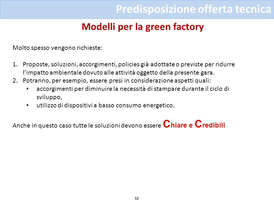 Modelli per la green factory 32 Predisposizione offerta tecnica Molto spesso vengono richieste: 1.Proposte, soluzioni, accorgimenti, policies già adot