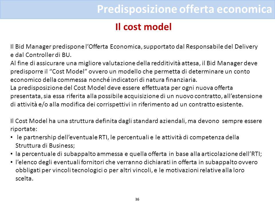 Il cost model 36 Predisposizione offerta economica Il Bid Manager predispone lOfferta Economica, supportato dal Responsabile del Delivery e dal Contro
