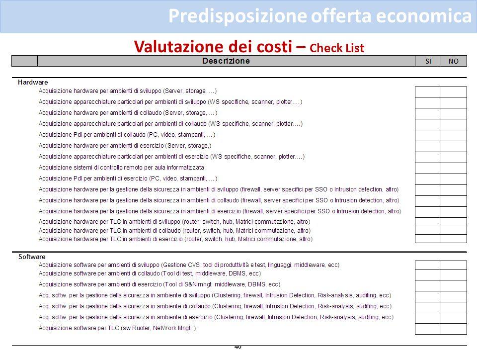 Valutazione dei costi – Check List 40 Predisposizione offerta economica