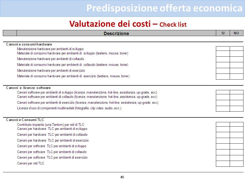 Valutazione dei costi – Check list 41 Predisposizione offerta economica