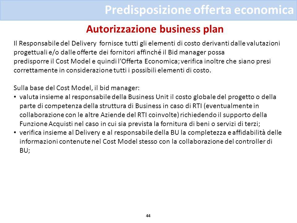 Autorizzazione business plan 44 Predisposizione offerta economica Il Responsabile del Delivery fornisce tutti gli elementi di costo derivanti dalle va