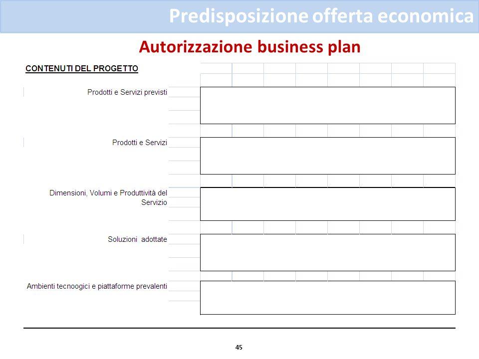 Autorizzazione business plan 45 Predisposizione offerta economica