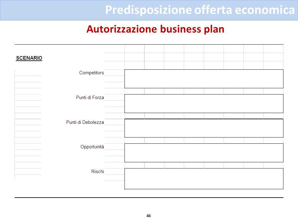 Autorizzazione business plan 46 Predisposizione offerta economica