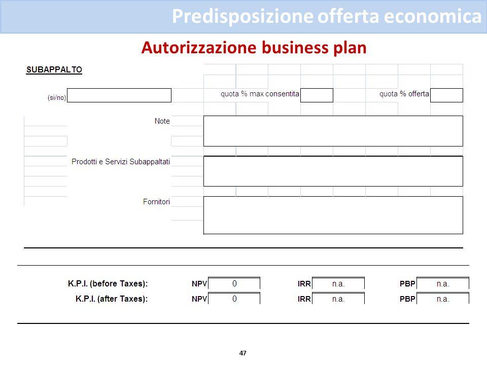 Autorizzazione business plan 47 Predisposizione offerta economica