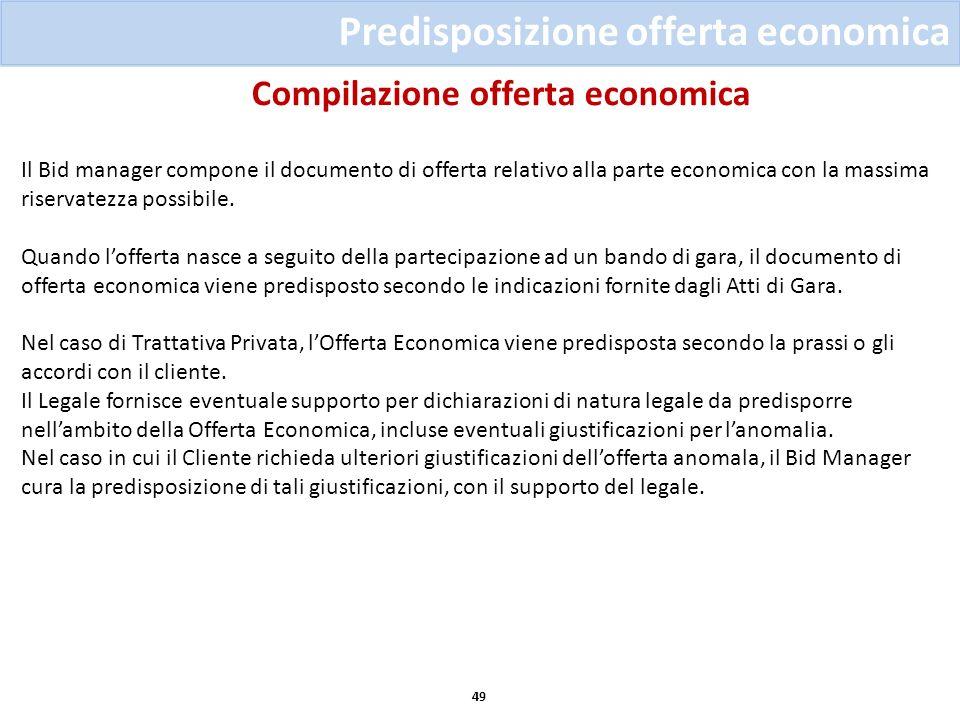Compilazione offerta economica 49 Predisposizione offerta economica Il Bid manager compone il documento di offerta relativo alla parte economica con l