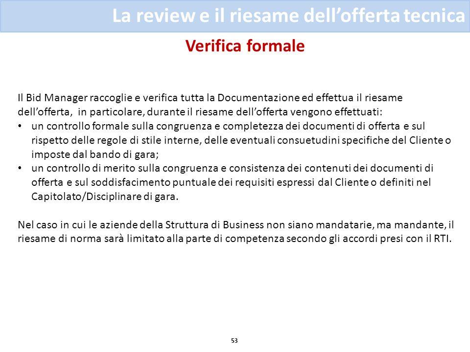 Verifica formale 53 La review e il riesame dellofferta tecnica Il Bid Manager raccoglie e verifica tutta la Documentazione ed effettua il riesame dell