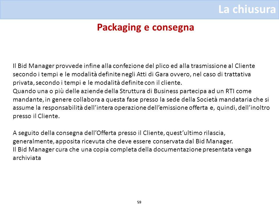 Packaging e consegna 59 La chiusura Il Bid Manager provvede infine alla confezione del plico ed alla trasmissione al Cliente secondo i tempi e le moda