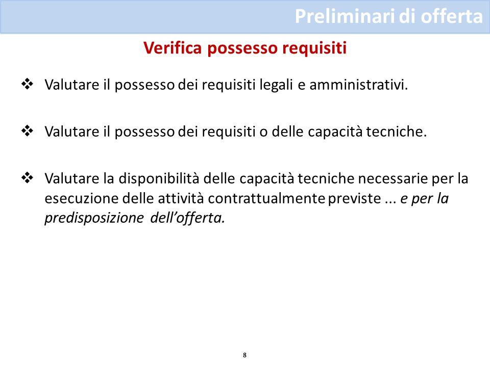 Verifica possesso requisiti Preliminari di offerta 8 Valutare il possesso dei requisiti legali e amministrativi. Valutare il possesso dei requisiti o