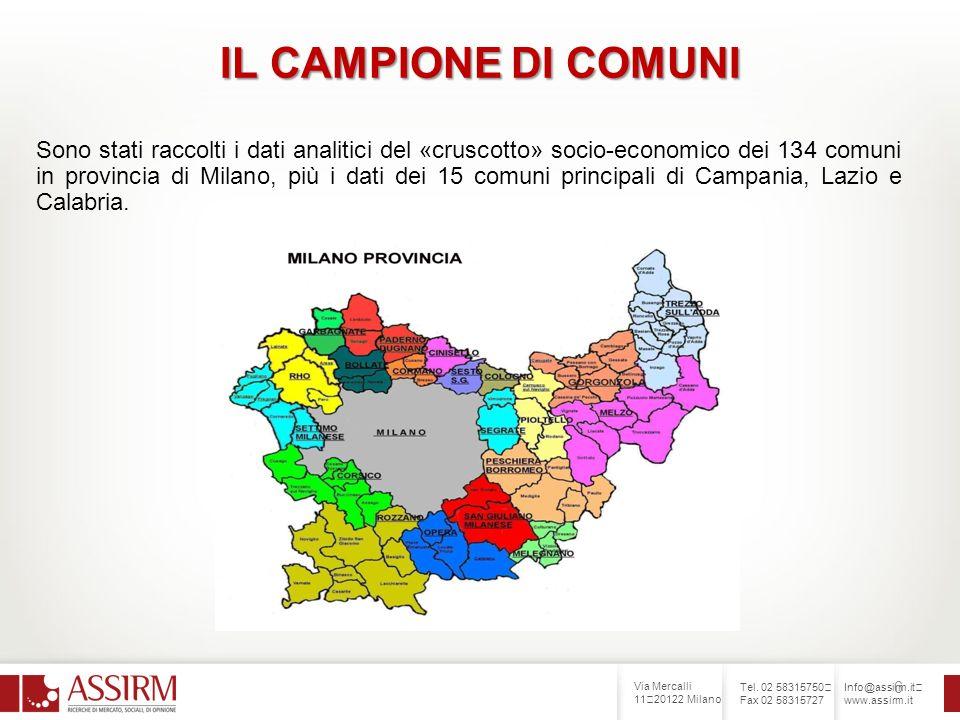 Via Mercalli 11 20122 Milano Tel. 02 58315750 Fax 02 58315727 Info@assirm.it www.assirm.it 6 IL CAMPIONE DI COMUNI Sono stati raccolti i dati analitic